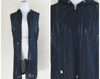 90s Black Mesh Vest Cutout Zipper Hoodie Medium Large XL Oversize