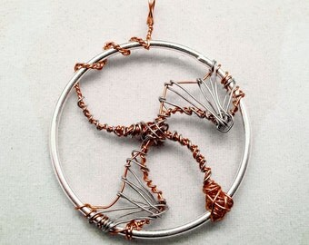 Silver and copper dragon wire wrapped pendant