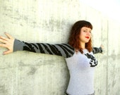 Women Sweater Dress Recycled Reconstructed Handmade Soft Tshirt Knit Eco Clothing Stripes Tiger Lion Black Grey S M