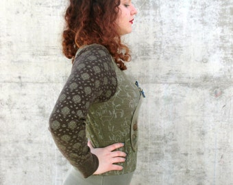 Women Tshirt Dress Recycled Clothing Reconstructed Handmade Soft Knit Eco Friendly Skull Green Earth Tones M