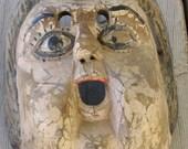 Hand carved wood mask-cherub-antique-child