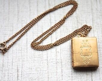 1950s Brass Engraved Book Locket Necklace // Victorian Family Album // Handmade Vintage Novelty Necklace