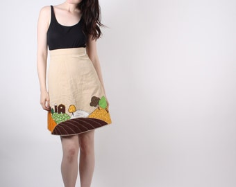 D - 1960s Novelty Skirt - Vintage 60s Skirts  - The Farmland Skirt  - 8001
