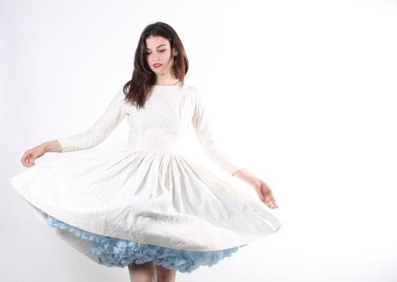 Cotton Wedding Gown: 1950s White Cotton Wedding Dress 50s White Wedding Dresses