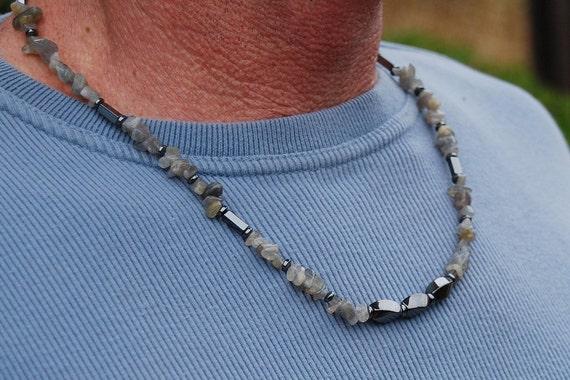 CLEARANCE - Silver Warrior - 23 Inch Handcrafted Gemstone Necklace - Labradorite and Hematite - SGArtCA - Tribal Chic Jewlery