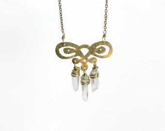 Crystal point pendant necklace, Scroll cutout and crystal necklace, raw crystal necklace
