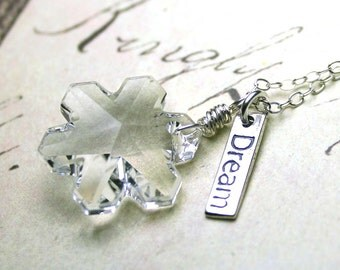 Crystal Snowflake Necklace - Swarovski Crystal Snowflake and Sterling Silver Pendant - Dreaming Of Winter