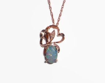 Natural Australian Opal Pendant 10K Solid Rose Gold With Diamonds Certificate Included