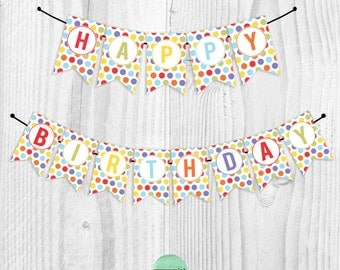INSTANT download // DIGITAL FILE // Polka Dot Party - printable happy birthday banner
