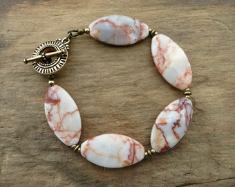 Red & White Marble Bracelet, rustic chunky red, white and pink veined stone bead Bohemian jewelry with golden toggle clasp