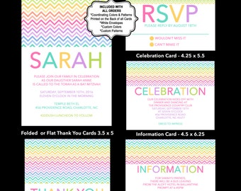 Chevron Invitation Bat Mitzvah, Rainbow