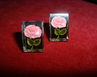 Vintage Lucite Rose Earrings Undercarved Lucite Sweet Pink Roses SUPERB Detail
