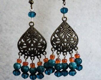 Boho Earrings, Bohemian Earrings, Chandelier Earrings, Bohemian Jewelry, Turquoise and Orange, Swarvoski Crystal, Marbled Glass Beads