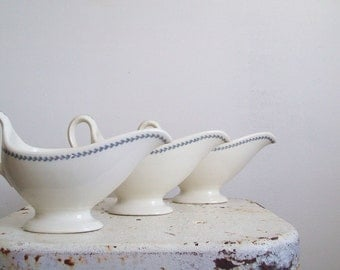Antique restaurant ware gravy boat Syracuse China powder blue laurel leaves 3 available 1940s blue kitchen