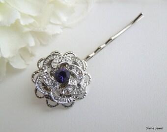 Bridal Hair Pin Rhinestone hair pin vintage style hair pin swarovski purple crystal hair pin wedding rhinestone hair accessory ROSELANI