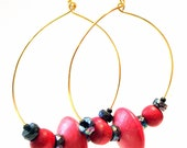 Handcrafted Costume Jewelry Faceted Iridescent Black and Red Wood Bead Hoop Earrings