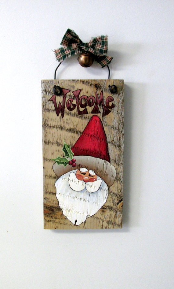 Welcome Sign Featuring Santa Hand Painted On Reclaimed Barn