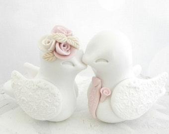 Love Birds Wedding Cake Topper, White, Dusty Pink and Beige - Bride and Groom Keepsake, Fully Custom
