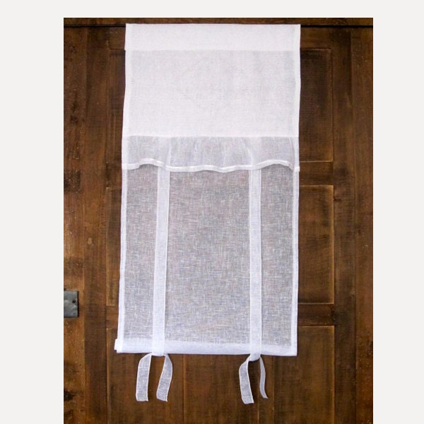 White Linen Roller Shade Sheer Tie Up Door Panel Window
