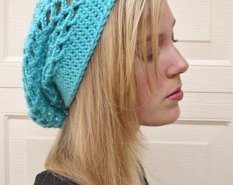 Turquoise slouchy hat, beanie hat,  slouchy hat, Spring Fashion 2016, blue summer hat, Boho Fashion, Hippie hat,  trends fashion slouchy hat