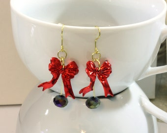 Red Bow and Crystal Bead Charm Earrings are HANDMADE BY ME from repurposed christmas ornaments - Very cute