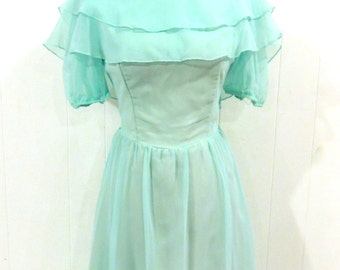 SALE vintage aqua evening gown - 1970s ruffly chiffon long dress