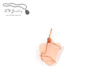 Pink, Beach Glass,  Pendant, Wire Wrapped,  Copper, wire pendant, wire wrap, wire wrapping, wire wrapped pendant, necklace