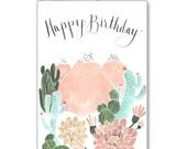 Cactus Mountain Dream Birthday Greeting Card