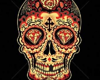 Womens Tank Top Day of the Dead Red Sugar Skull T Shirt Choose Size and Color  17343