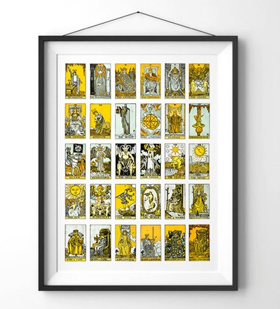 Large Vintage Tarot Card Diagram Reproduction By Curiousprints