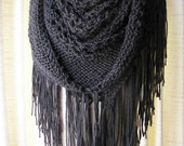Charcoal Grey Hand Knit SHAWL Triangle Scarf SOFT Acrylic with FRINGES