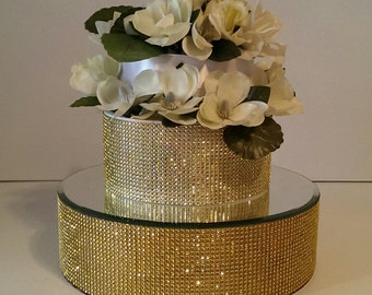 Gold Cake Stand, Wedding Cake Rise  Gold Bling Cake Stand 12,14, 16 inch with a  mirrored top. Includes 1 (one)