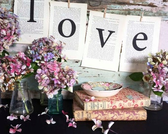 Romantic wedding decorations, LOVE decoration made from vintage book pages