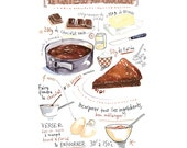 Chocolate cake recipe poster, Kitchen art, Food artwork, Bakery print, French baking digital illustration, Watercolor Home decor