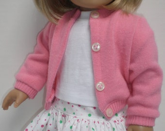 Pink Cardigan Sweater, Tee Shirt & Ruffled Skirt Set 18 inch doll clothes