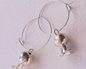 Squash Blossom, Spanish Pomegranate, Hoop Earrings, Sterling Silver, Handmade, American earrings, handmade, floral earrings, hoop with charm