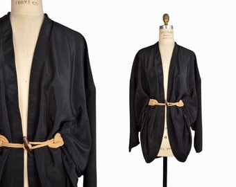 Vintage 90s Black Satin Kimono-Inspired Top - women's large