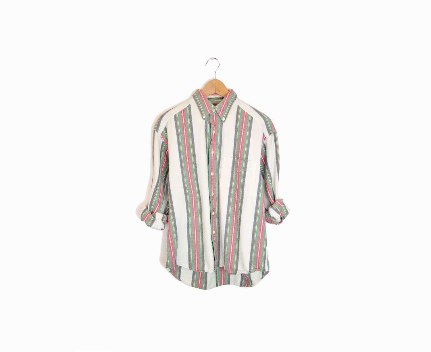 Vintage vertical stripe men 39 s button down shirt in red for Red and white striped button down shirt