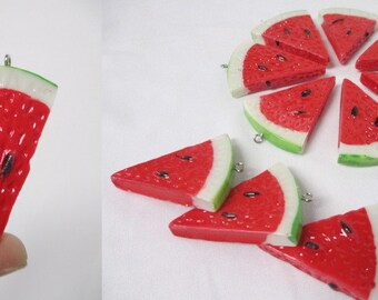 Grade B - WATERMELON Pendants  - lot of 10 Jumbo Resin Red Melon Fruit Focal Beads