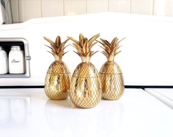 """7"""" Tall Vintage Brass Pineapple Box / Candle Holder"""