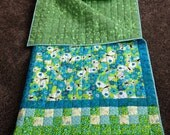 """Child's Quilted Sleeping Bag """"Butterfly Whirl"""" in Turquoise and Lime Green"""