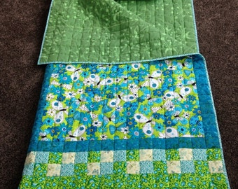 "Child's Quilted Sleeping Bag ""Butterfly Whirl"" in Turquoise and Lime Green"