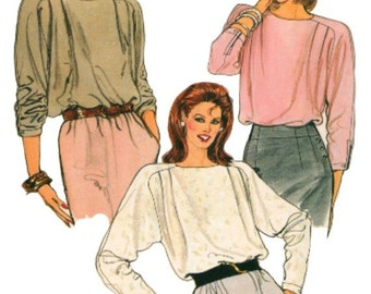 1980s Tucked Blouses Pattern  VOGUE 8889   Beautiful Tucked Blouses with Extended Shoulders  UNCUT, Factory Folded  Bust 34