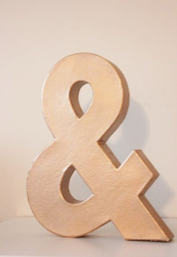 Faux metal letter copper rose gold initial home room decor diy for Initial decorations for home