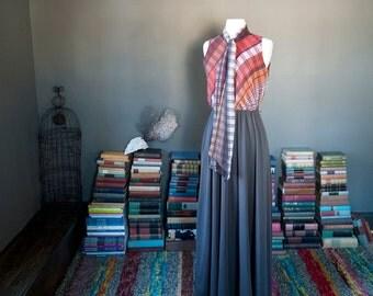 Vintage DRAPEY scarf neck pussy bow mixed fabric bohemian MAXI DRESS