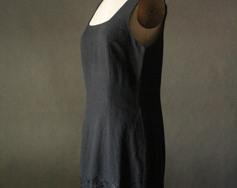 Vintage 90's Black Embroidered Shift Tank Dress by The Limited