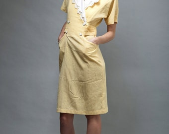vintage 80s pocket dress yellow white lace collar M MEDIUM