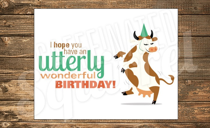 Dancing Cow Birthday Card Happy Party Hat Utterly Utter