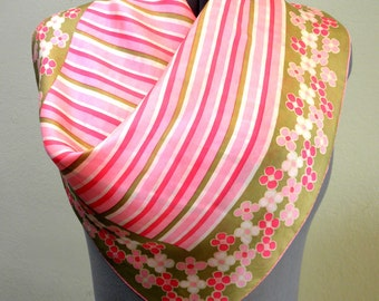 Scarf - Vintage Japanese Green, Pink and White Floral and Stripe Scarf Modern Preppy Hello Kitty Cute Kawaii Inspired Colors Scarf or Decor