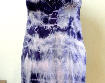 Slip Dress: Upcycled Vintage Shibori Dyed in Violet & Gray Abstract Print One of a Kind Art Clothing Boho Evening wear/Valentine Gift